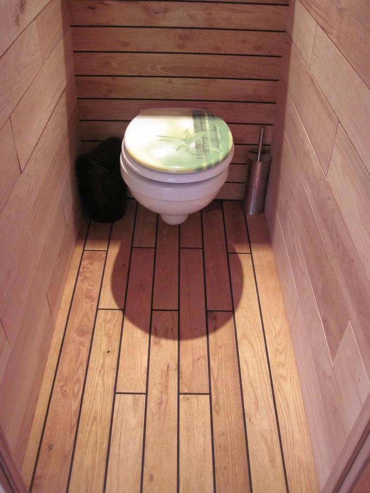 parquet robinier acacia pour salle de bain - Pose Parquet Pont De Bateau Salle De Bain